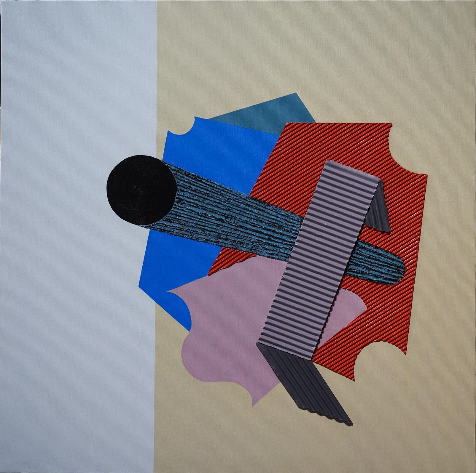 PUNTAMENTO 50x50 tela trattata con gesso, acrilico, pigmenti, cartone