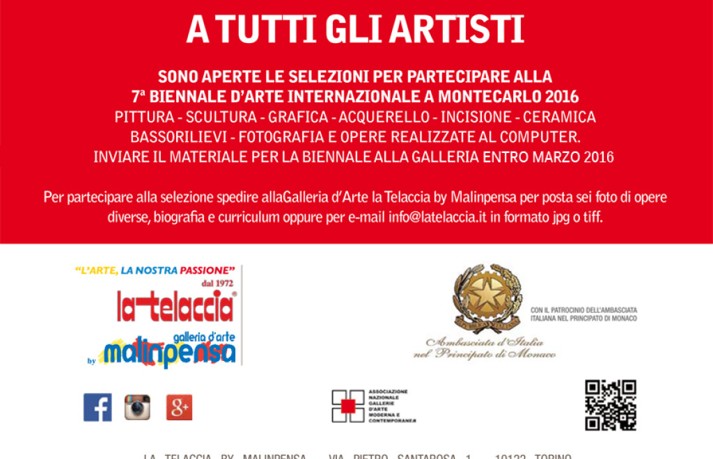 7^ INTERNATIONAL BIENNALE D'ART MONTECARLO IN 2016