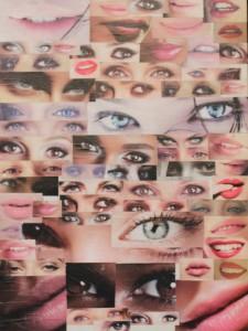 """""""Sguardi e poi bocche"""" -  Cm 35x45 - Collage su cartone telato - 2012"""