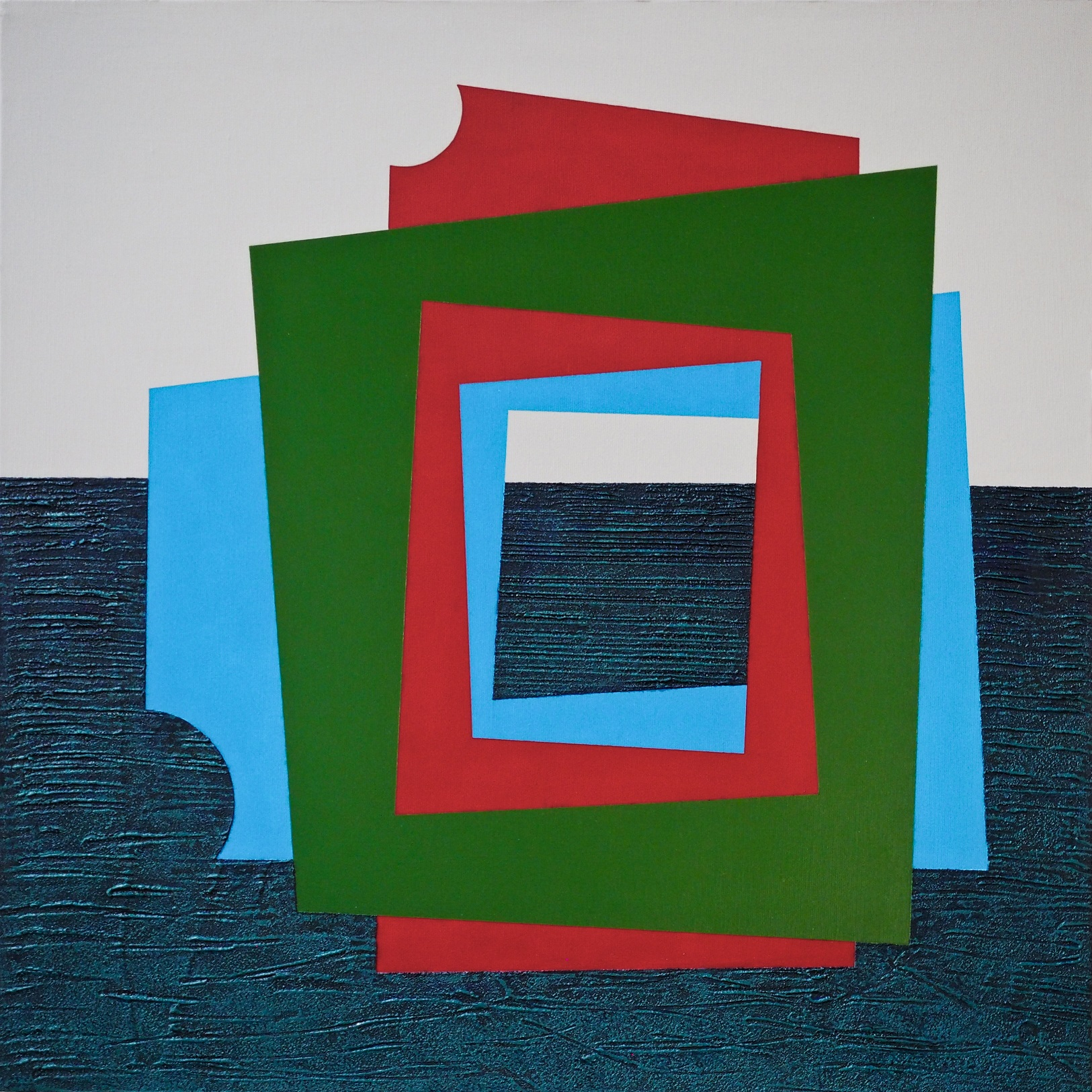 WINDOWS, stucco edile su tela, acrilico, 60x60, 2016